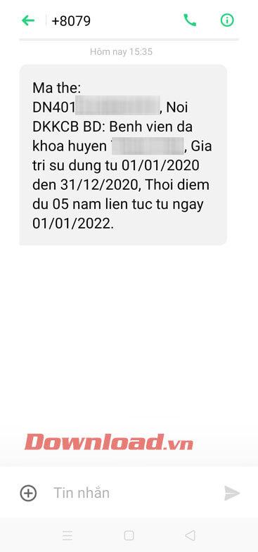 Tin nhắn về thông tin của thẻ BHYT