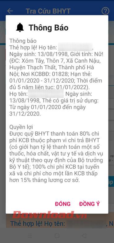 Thông tin về thẻ BHYT
