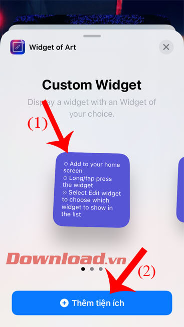 Select a widget style, then tap the Add Widget button