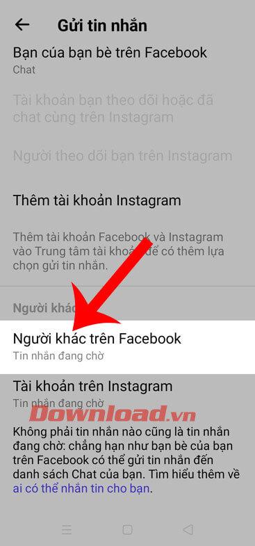 Chạm vào mục Người khác trên Facebook