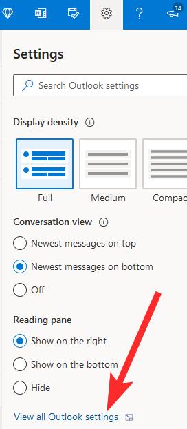 Xem cài đặt Outlook