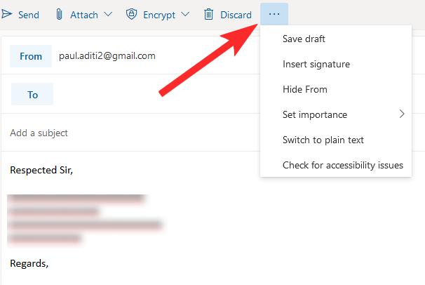 Mở thêm nhiều tùy chọn trên Outlook