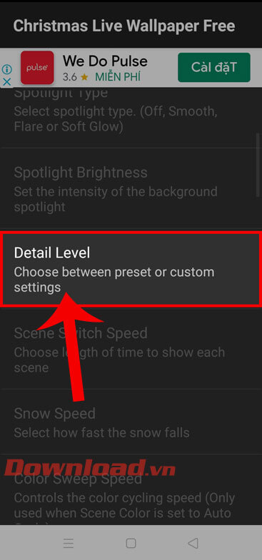 Click on Detail Level