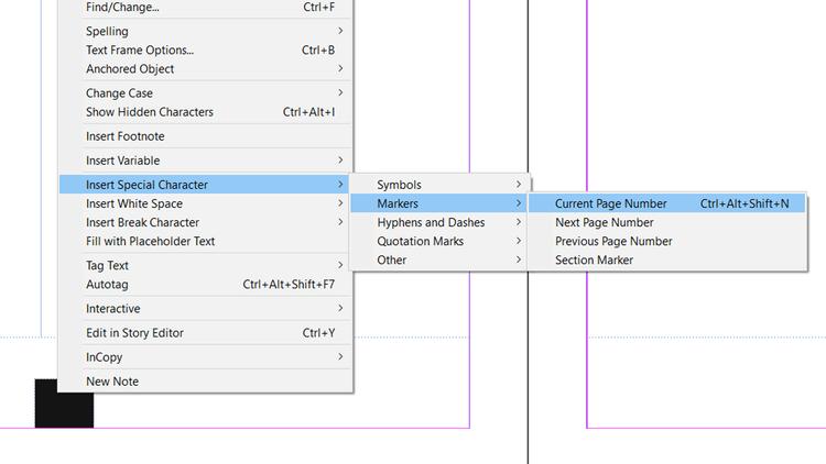 Đánh dấu số trang hiện tại trong Adobe InDesign