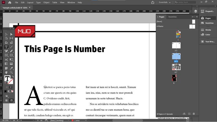 Chèn thêm số trang bằng InDesign