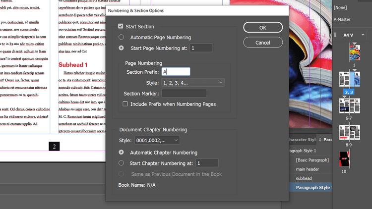 Thêm tiền tiền vào các phần trong trang Adobe InDesign