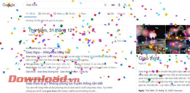 Hiệu ứng pháo hoa giấy trên Google