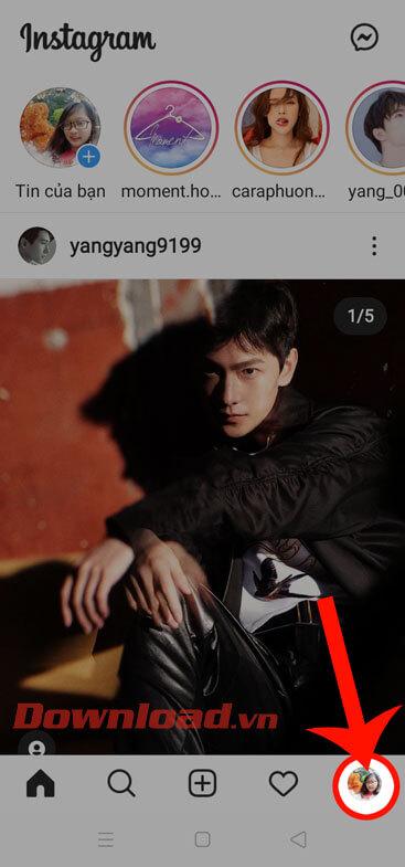 Ấn vào ảnh đại diện Instagram