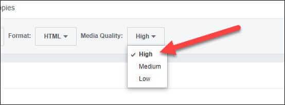 Chọn chất lượng file