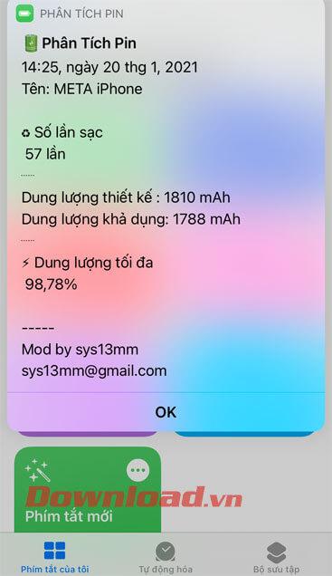 Thông báo phân tích pin của iPhone