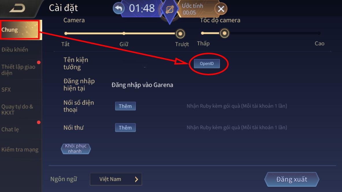 Liên Quân Mobile: Cách xem Open ID của người chơi trong trò chơi update 3