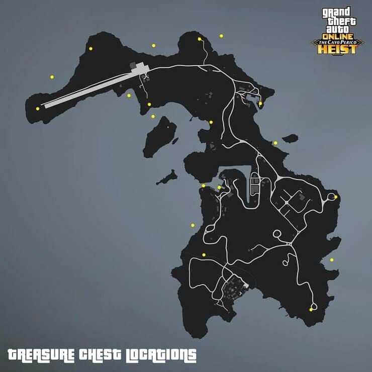 Bản đồ vị trí kho báu trong GTA Online