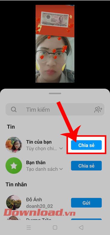 Nhấn vào nút Chia sẻ