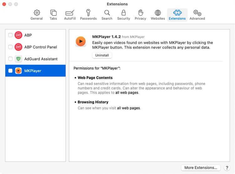 Xóa extension trong Safari