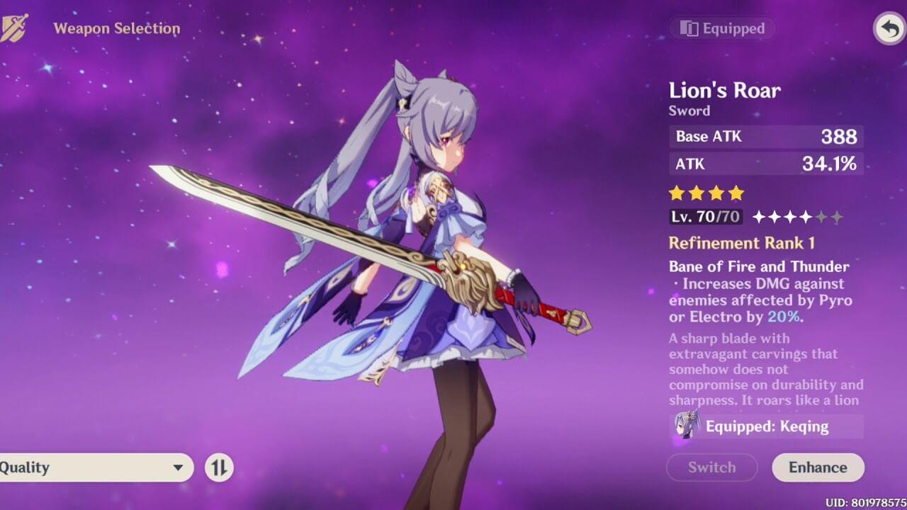 Lion's Roar trong Genshin Impact