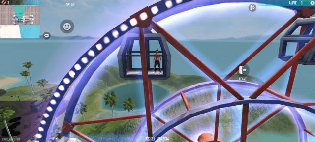 Bánh xe đu quay khổng lồ để người chơi có thể ngồi trên đó, ngắm nhìn toàn bộ hòn đảo Huấn luyện từ trên cao