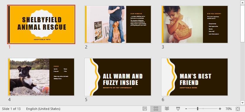 Quản lý slide PowerPoint Slide sorter view