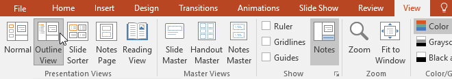 Bảng Outline View trên PowerPoint