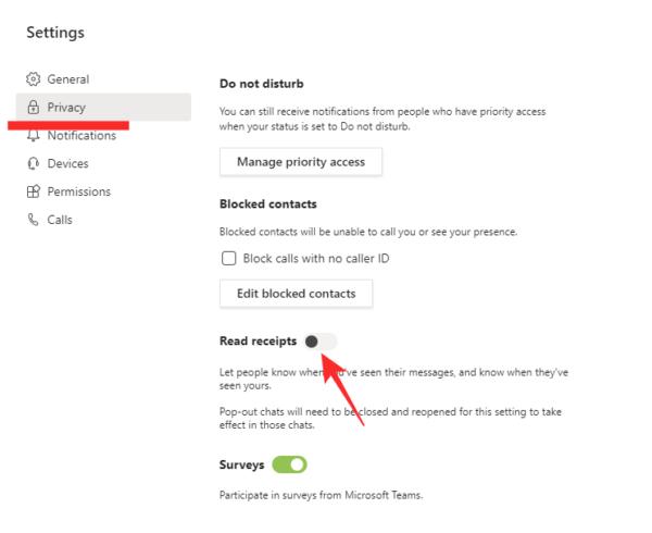 Tùy chọn riêng tư Privacy trên Microsoft Teams