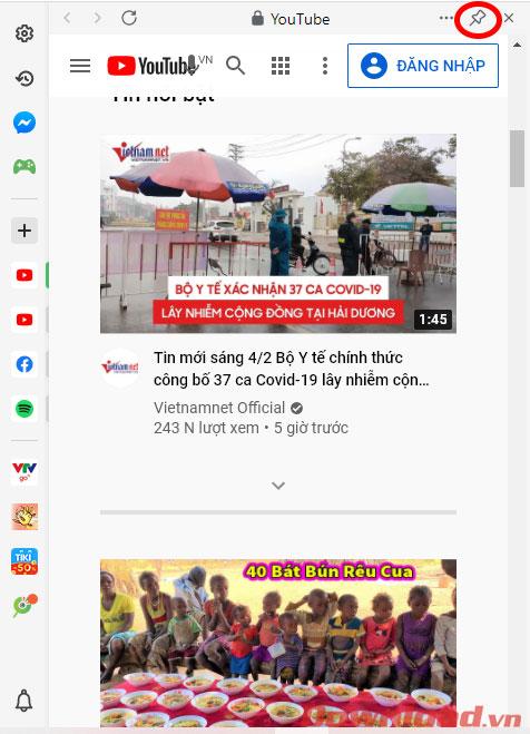 Cốc Cốc: Hướng dẫn cách xem Youtube trên cửa sổ phụ Sidebar update 4