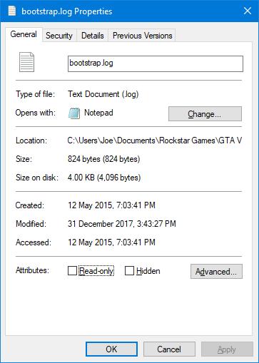 Bảng thuộc tính file trên Windows 10