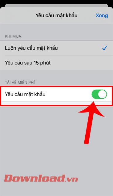 Gạt công tắc tại mục Yêu cầu mật khẩu