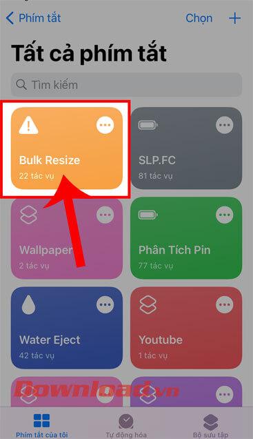 Nhấn vào phím tắt Bulk Resize