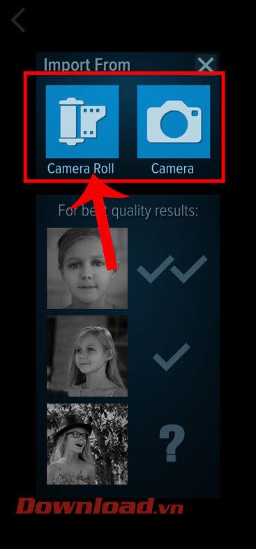 Ấn vào mục Camera Roll