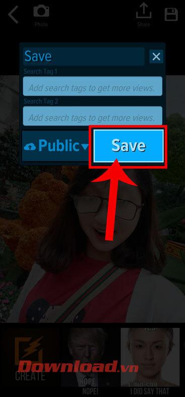 Chạm vào nút Save