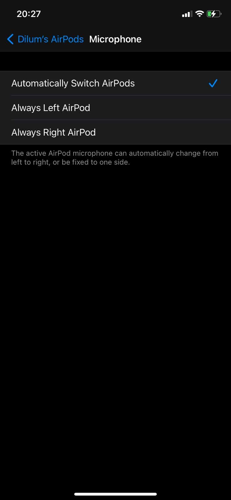 Cấu hình cài đặt mic AirPods trên iPhone