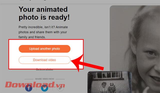 Click chuột vào nút Download video