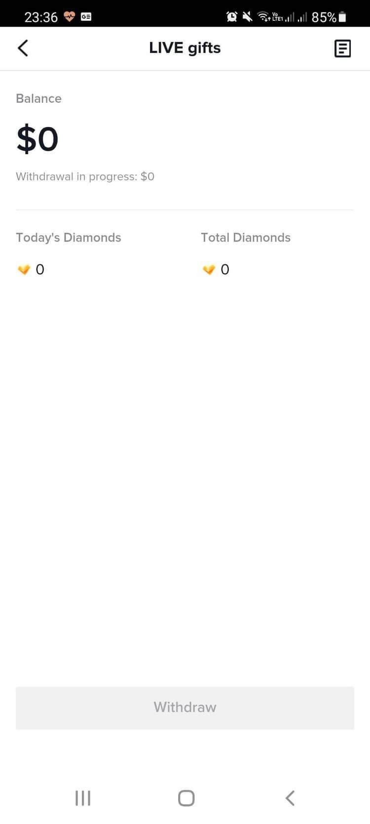 Tổng số kim cương trong tài khoản