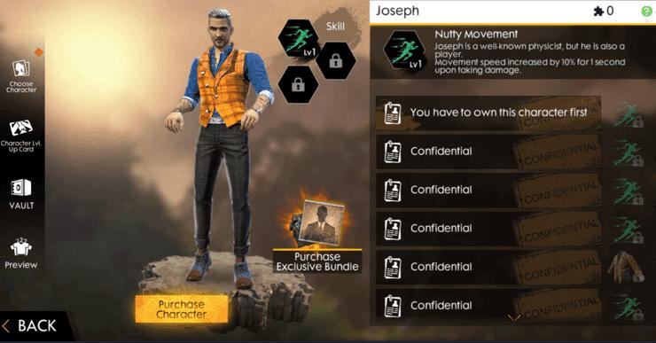 Chỉ số nhân vật Joseph trong Free Fire