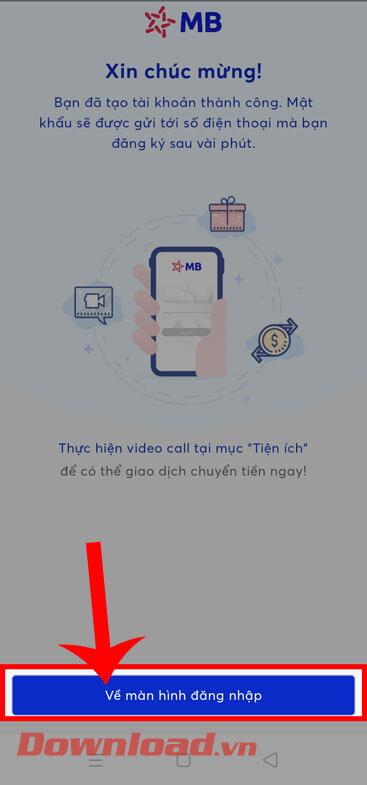 Ấn vào nút Về màn hình đăng nhập