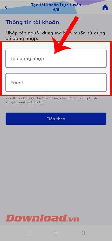 Nhập tên Đăng nhập và địa chỉ email