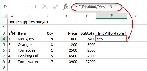 Kết quả hàm IF trong Excel