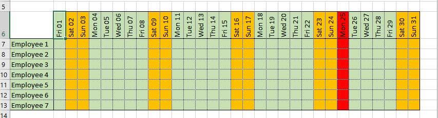 Cách làm lịch trên Excel