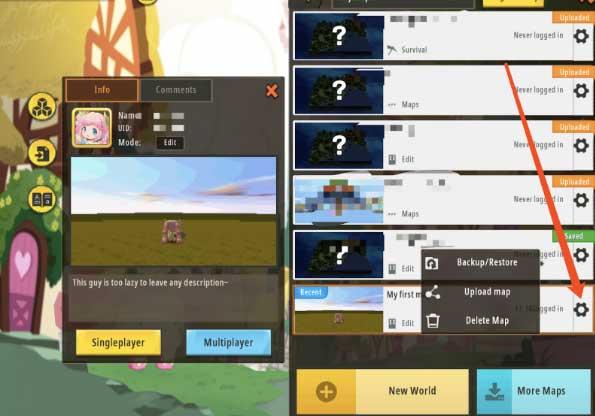 Tạo bản đồ chơi game Mini World
