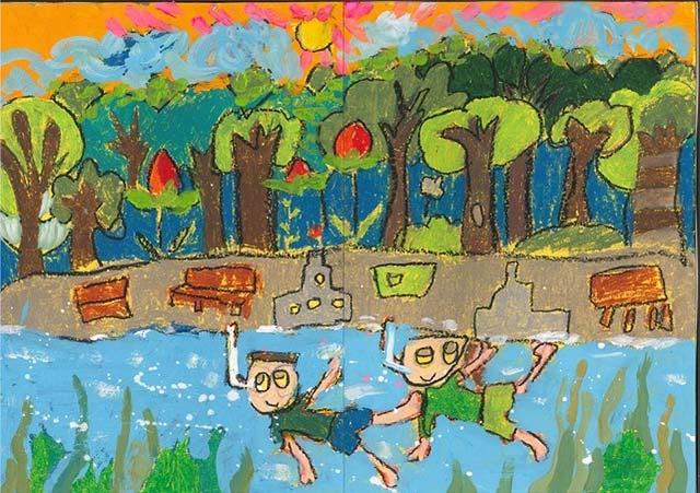 Muốn cùng bạn bè vui chơi, bơi lội cùng với dòng nước xanh.