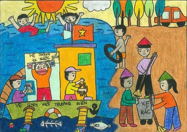 Bức tranh bảo vệ môi trường biển với những máy móc lọc nước biển.