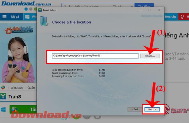 <p><strong>Bước 6:</strong> Nhấn vào nút<strong> Browse</strong> để thiết lập lại nơi lưu trữ của phần