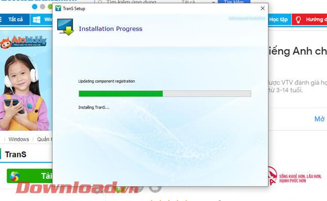 <p><strong>Bước 8:</strong> Chờ đợi một lát để việc cài đặt phần mềm TranS được hoàn tất.</p>
