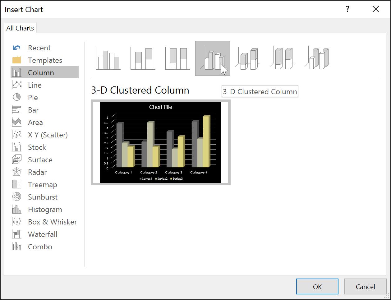 Danh mục biểu đồ trong PowerPoint