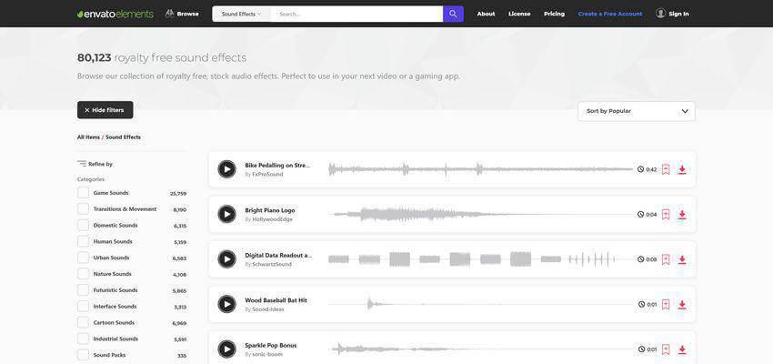 Tải hiệu ứng âm thanh miễn phí trên Envato Elements