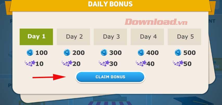 <p><strong>Bước 5: </strong>Ở lần đầu vào game, bạn sẽ thấy Daily Bonus hiện ra. Click <strong>Claim