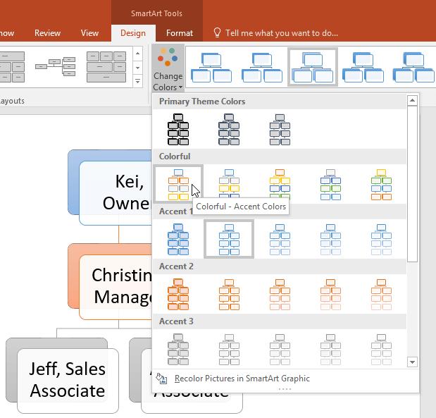 Đồi màu SmartArt trong PowerPoint