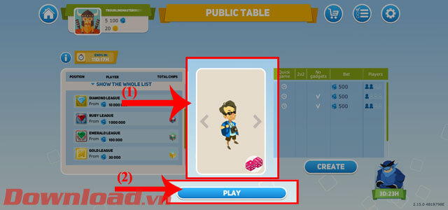 """<p><strong>Step 3: Select the character</strong> to represent, then click the <strong>Play.</strong></p> <p> button""""/></p></div> </li> <li> <div class="""