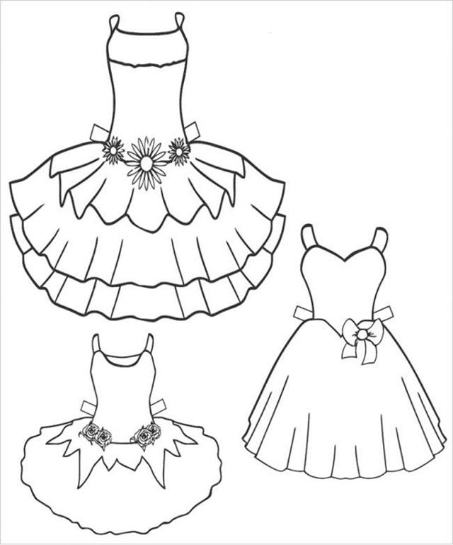 Tranh tô màu váy công chúa đẹp lộng lẫy