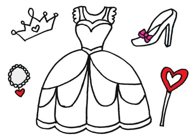 Tranh tô màu váy công chúa cho bé
