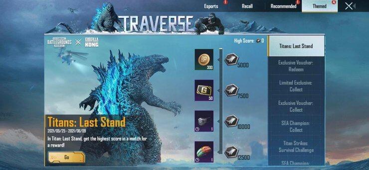 Prizes in PUBG Mobile's Titans: Last Stand mode